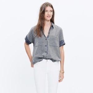 Madewell blue and white striped courier